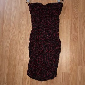 Cheetah print strapless dress